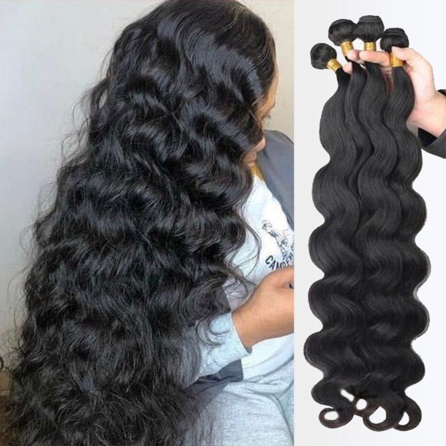 Body Wave Bundles Extensions Weave 100% Human Hair Product Brazilian Remy Extension Deals For Black