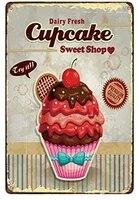 Affiche en etain en metal pour cupcakes  boutique  Bar  Pub  maison  Vintage  retro  cafe  Art