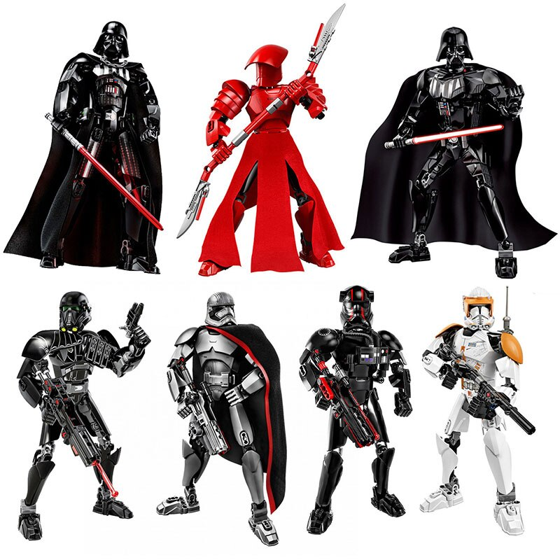 Star Wars Buildable Figure Darth Vader Stormtrooper Chewbacca Kylo Ren Boba Fett  Action Figure Christmas Gifts Toy For Kids 10 inch originalfake kaws boba fett companio by kaws for star wars 30th anniversary kaws companion original fake