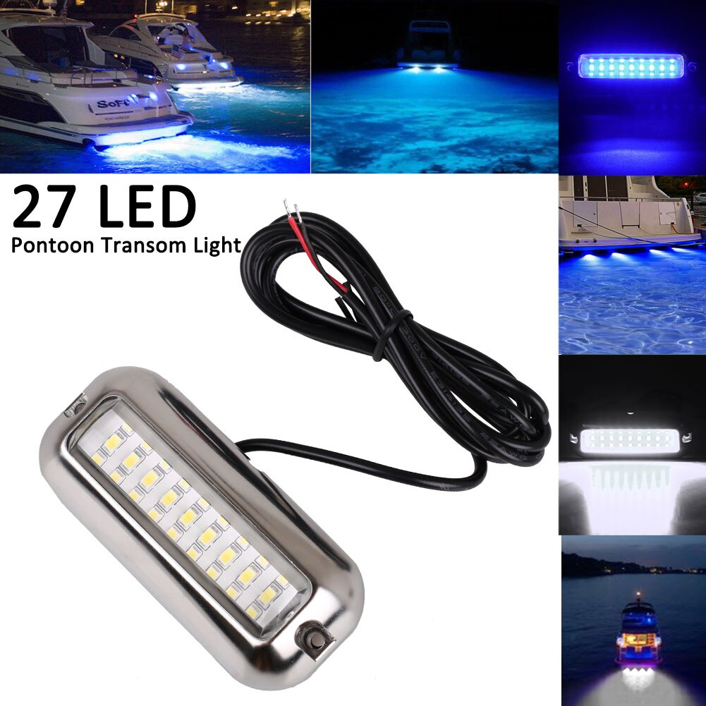 Blue/White 27 LED Underwater BOAT/MARINE Transom LIGHT Stainless Steel Pontoon 50W Boat Accessories Marine Yacht Led Marine Boat