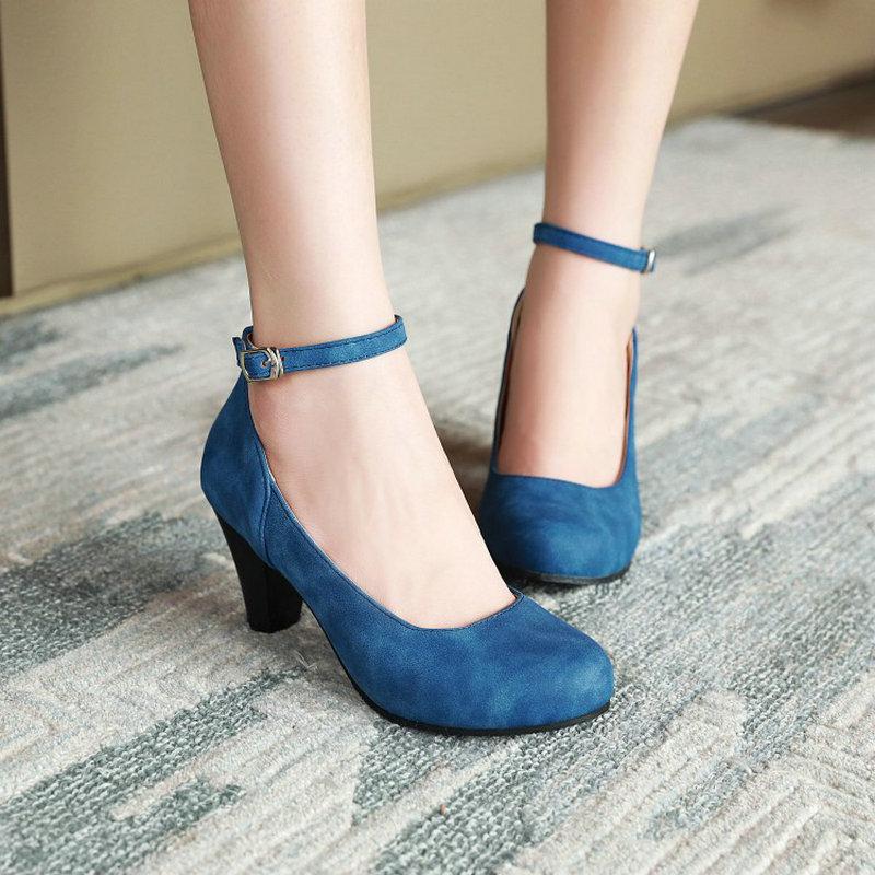 Zawstica-حذاء نسائي بمقدمة دائرية ، حذاء ريترو بكعب عالٍ سميك ، أزرق كحلي ، أسود ، ماري جينس ، مقاس 48