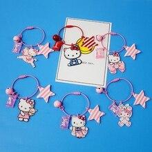 Cartoon Anime Hello Kitty Kimono Candy Animal Keychain For Girls Women Key Chains Ring Bag Pendent Charm Kids Toys D370