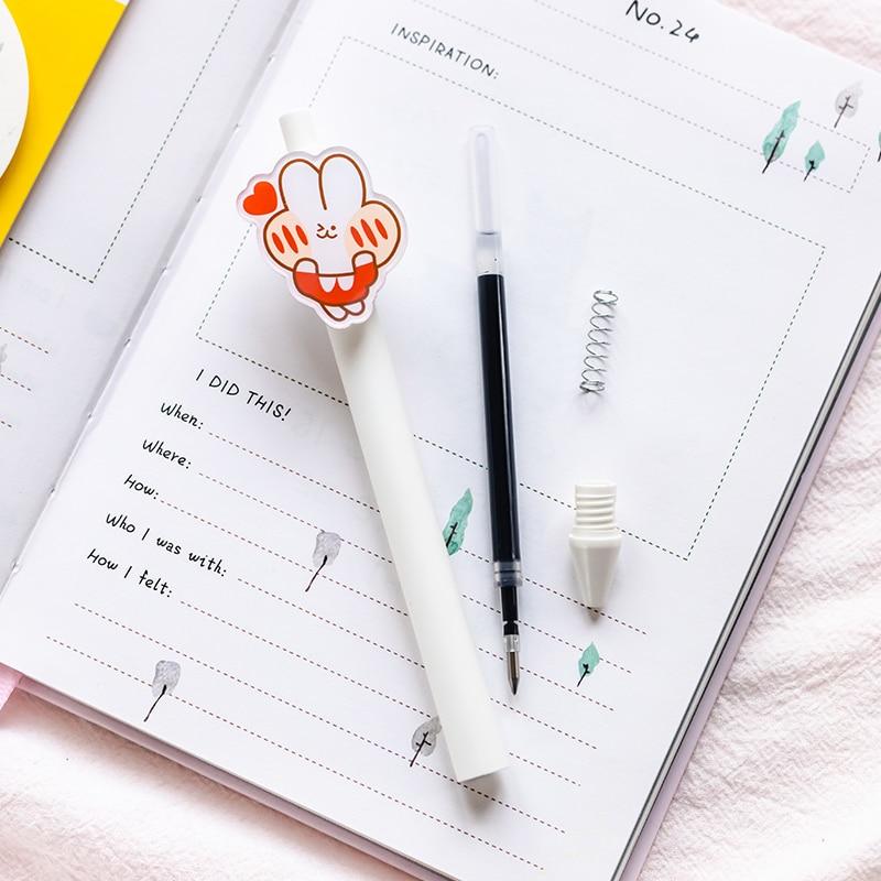 5 шт. повседневную жизнь милых котят гелевая ручка прочный пуш-ап Тип 0,5 мм с черными чернилами шариковая ручки канцелярские товары для школь...