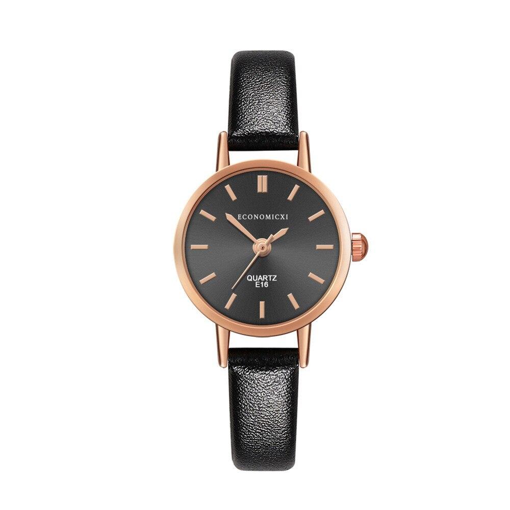 Простые маленькие часы из розового золота с Циферблатом из сплава, модные женские черные часы с тонким кожаным ремешком и браслетом, женски...