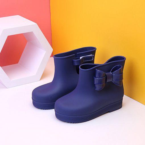 Las Botas de lluvia agradable Arco-Nudo de PVC botas para lluvia para niños suave antideslizante niños Botas de lluvia impermeable de botas para niñas Arco-Nudo