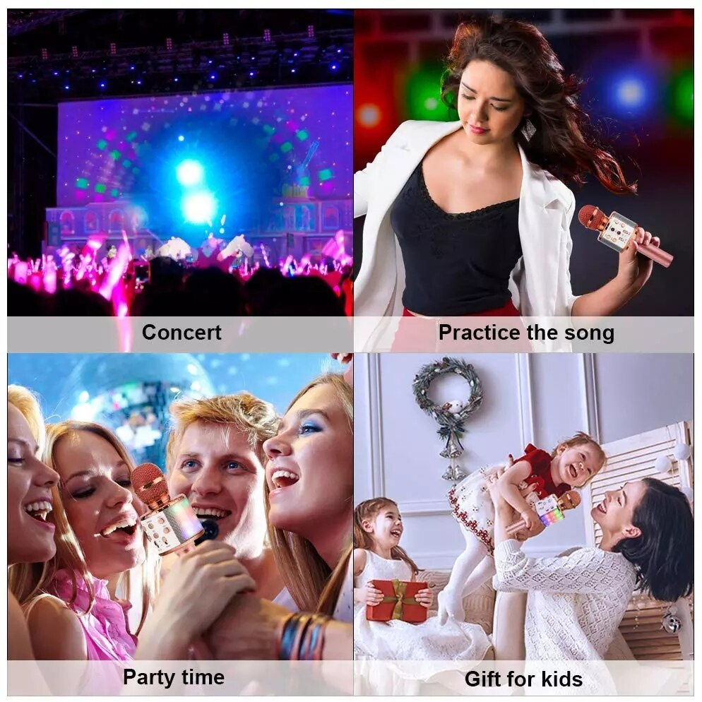 Wireless Karaoke Microphone Bluetooth Handheld Portable Speaker Home KTV Player with Dancing LED Lights Record Function for Kids enlarge