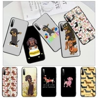 cute dachshund dog black rubber mobile phone case cover for honor 7a pro 7c 10i 8a 8x 8s 8 9 10 20 lite