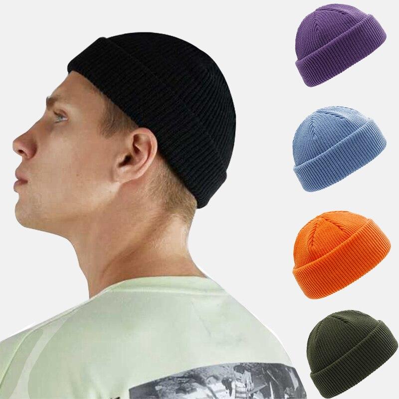 Мужские зимние теплые облегающие шапки, Женская шерстяная вязаная облегающая шапка, шапка в стиле хип-хоп, повседневные эластичные шапки ун...