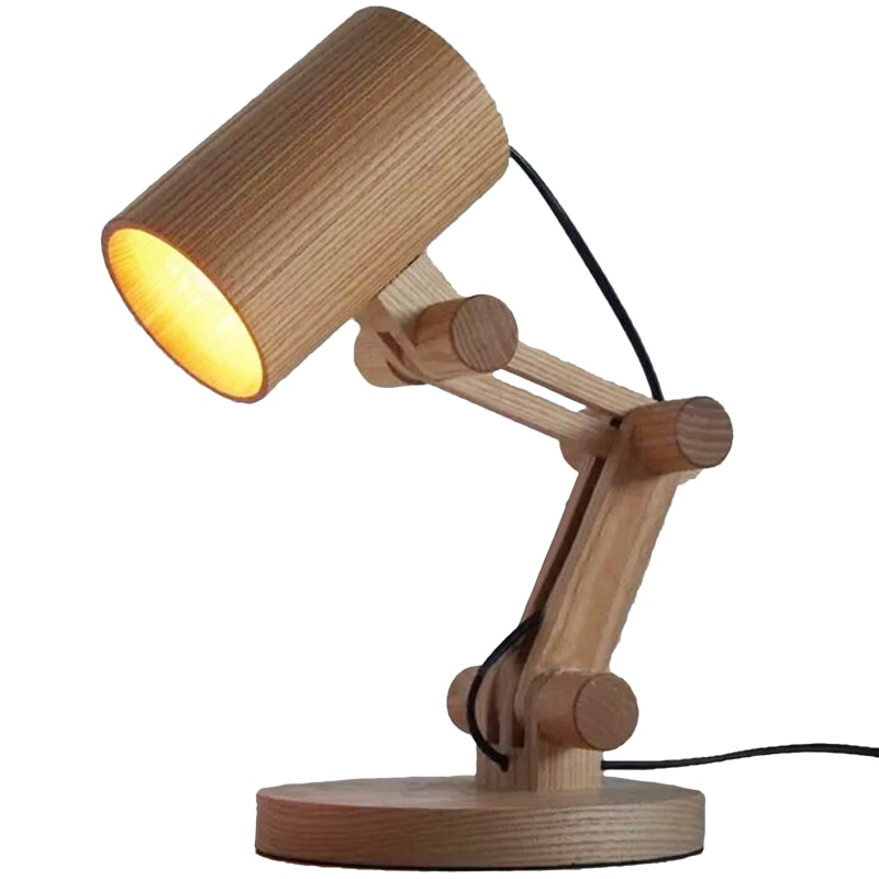 Lámpara Led de escritorio de estilo japonés, lámpara de mesa de madera sólida, lámpara de lectura para escritorio, lámpara de mesa, iluminación, decoración del hogar, Eu