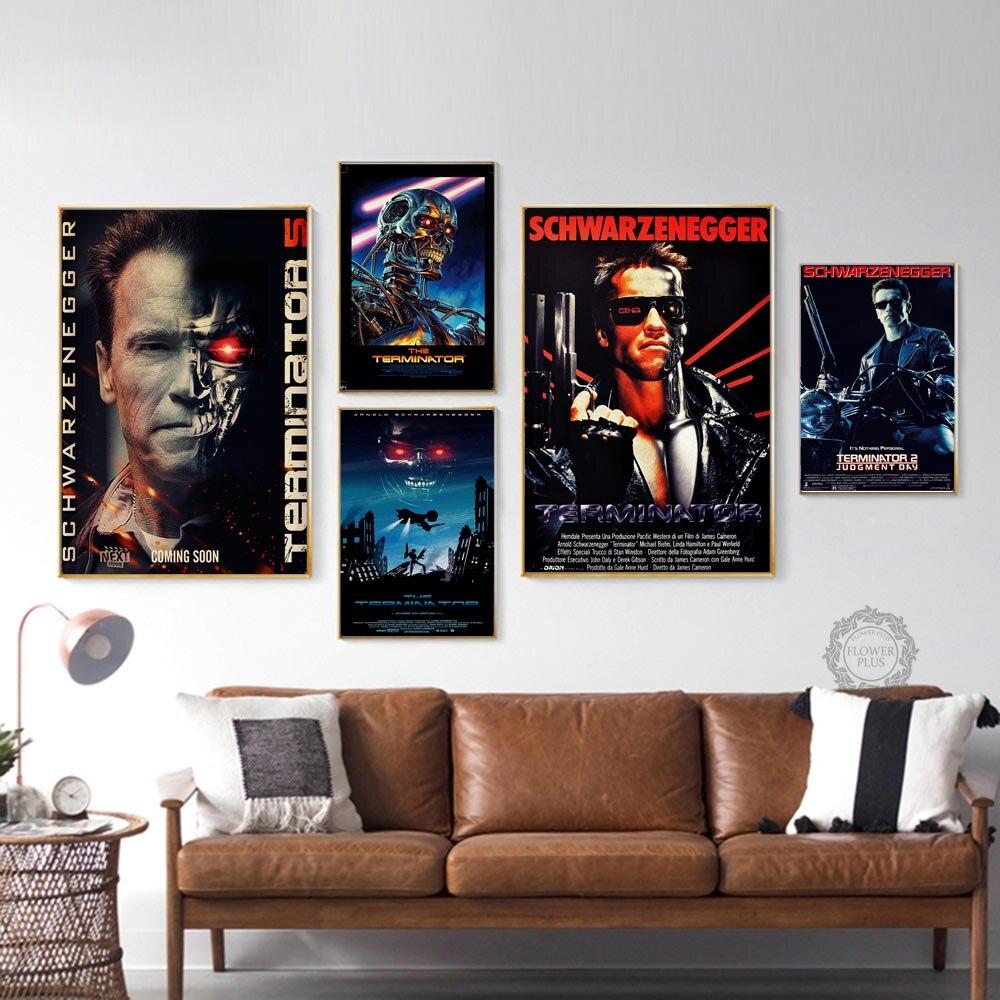 Película clásica el Terminator, decoración de pared de la habitación del hogar, póster de lona Vintage e impresiones, pinturas impresas, decoración de pared