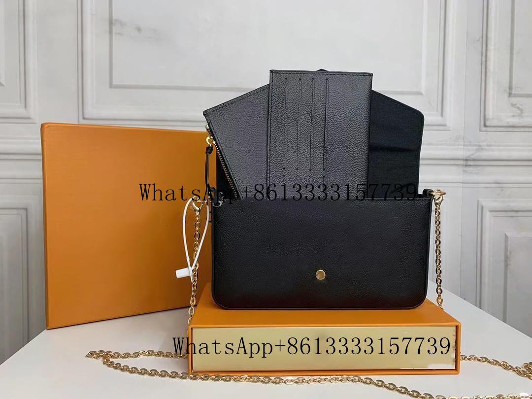 الأصلي عالية الجودة المصممين الفاخرة حقائب محفظة امرأة الموضة أحادية اللون متعددة Pochette فيليسي سلسلة حقيبة كتف كروسبودي