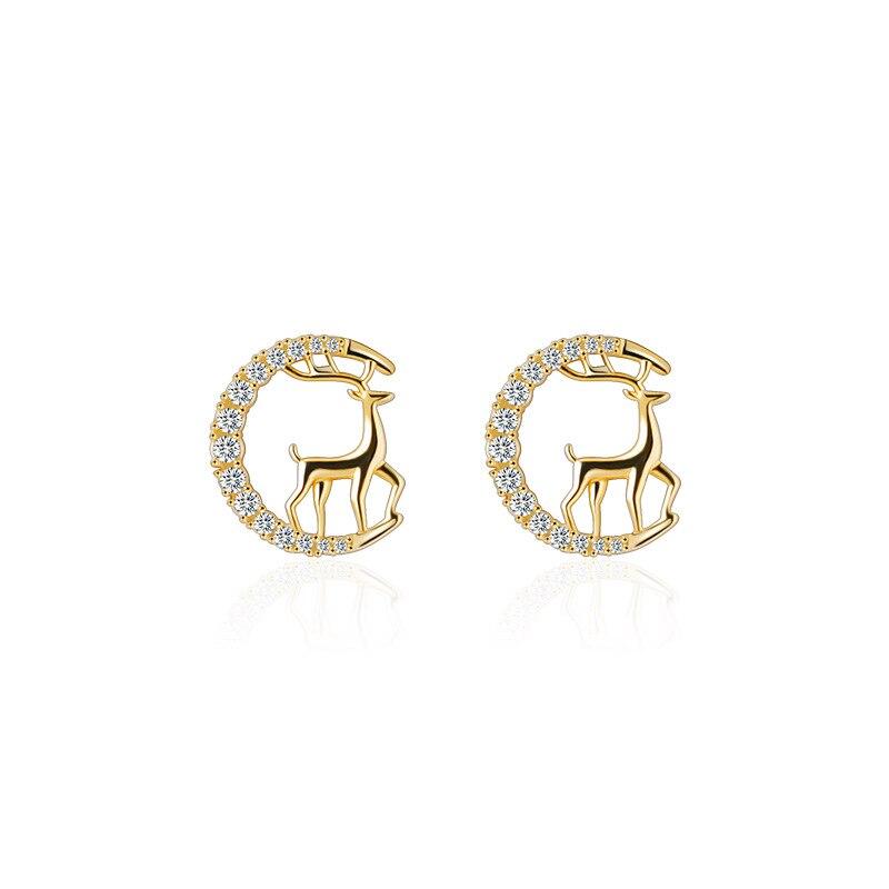 Korean Cute Metal Deer Zirdon Stud Earrings Animal Crystal Round Earrings for Women Girls Party Wedding Jewelry Wholesale