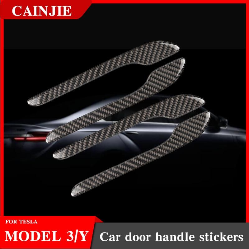 New Car Door Handle For Tesla Model 3 2021 Model Y Accessories Door Cover Paste Model3 Carbon Fiber