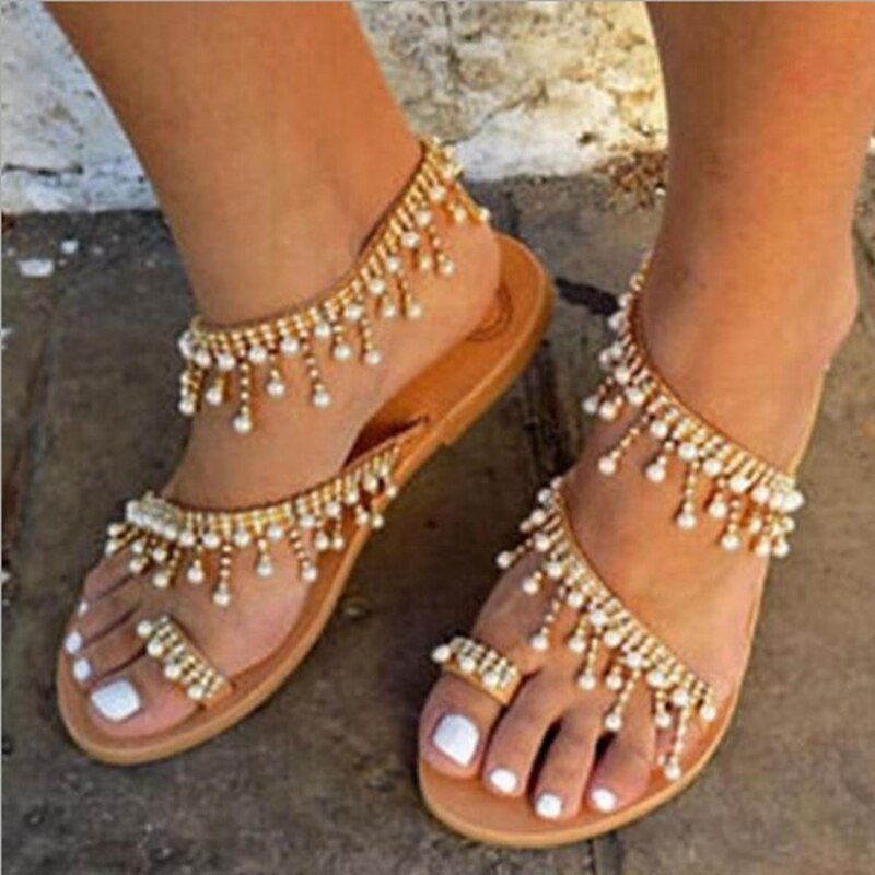Young Girls flat sandals Bohemian Pearl String Beach Sandals Women flats Shoes Summer Rome Shoes Thong Sandal SIZE 40 41 42 43