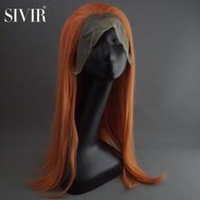 Sivir-peluca sintética larga y recta para mujer, parte de encaje, Color naranja, para Cosplay/Fiesta, fibra de alta temperatura