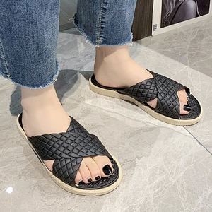 Summer 2021 Beach Slides Cross Strap Solid Plaid Flat Heel PVC Slippers Outdoor Casual Fashion Shoes Ladies Girls Female Casual