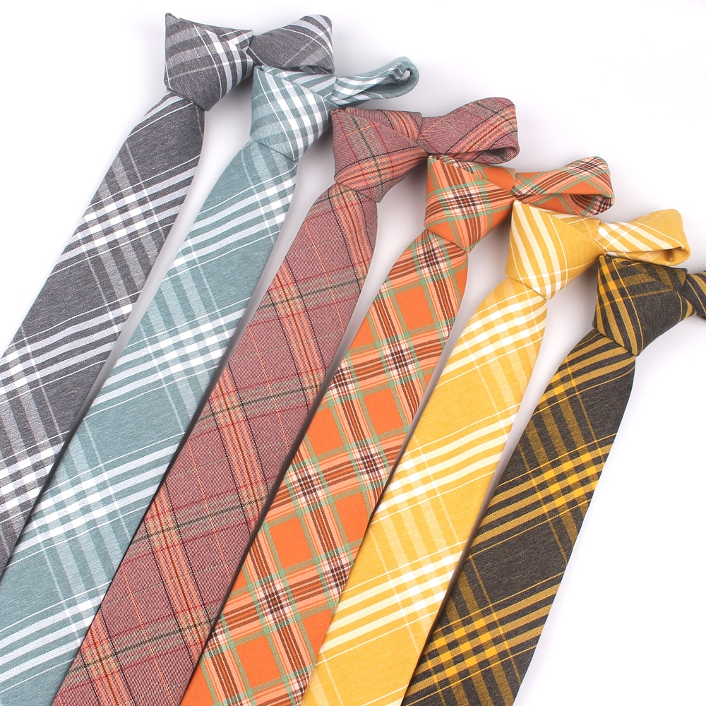 Fashion Skinny Neck Ties Casual Plaid Necktie For Wedding Business Boys Suits Cotton Tie Slim Men Gravatas