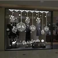 Decoration de la fenetre du nouvel an 2021  autocollants amovibles  cloches de noel  cerf pour la maison de noel