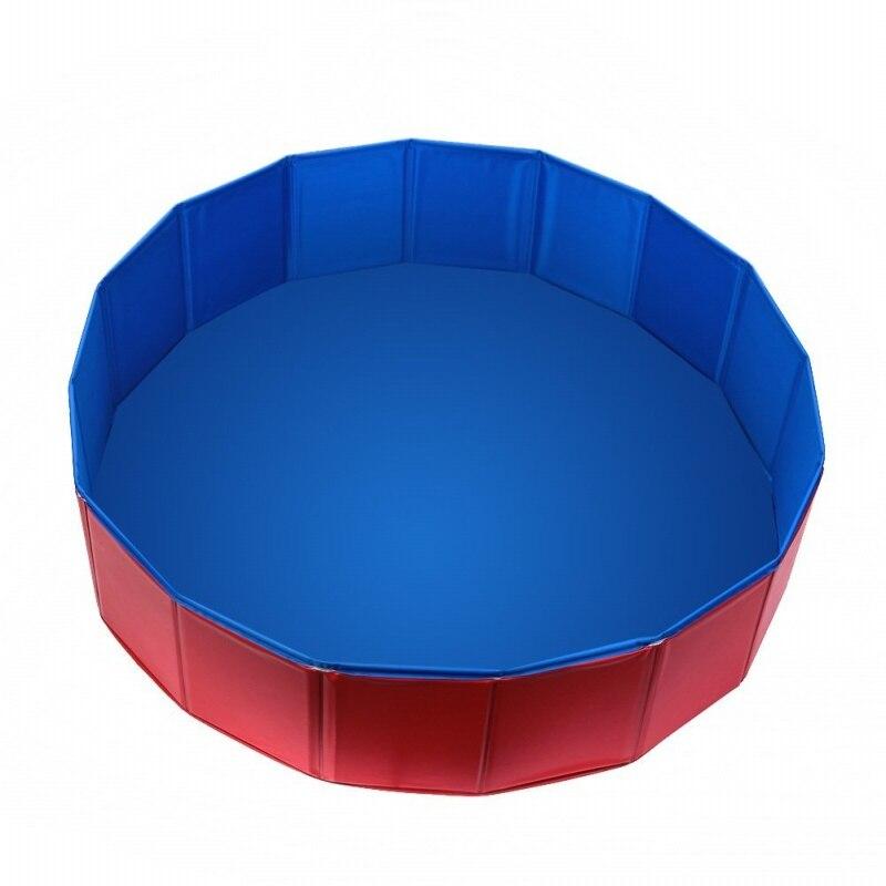 Foldable PVC Pet Swimming Pool Bathing Tub Bathtub Dog Cats Washer 32inch.D x 8inch.H, Red