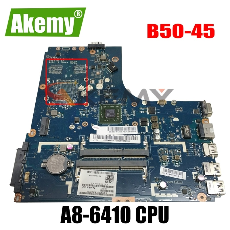 جديد ZAWBA/BB LA-B291P اللوحة لينوفو B50-45 اللوحة الأم B50-45 اللوحة الرئيسية مع AMD A8-6410 وحدة المعالجة المركزية 100% اختبار wor