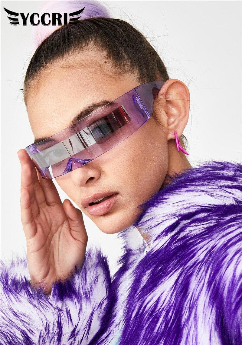YCCRI New Personality Women Riding Glasses Fashion Party Eyeglasses Visor Wrap Shield Sunglasses Rid