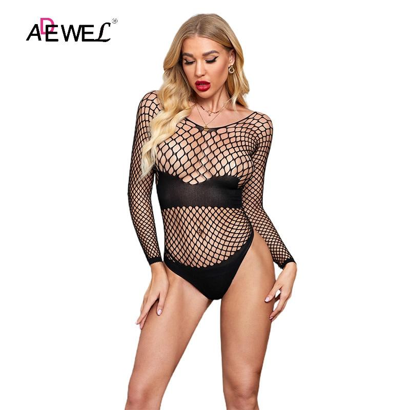 ADEWEL Women Sexy Fishnet Bodysuits Black High Elasticity Hollow-out Shadowed Long Sleeves Teddy Rompper 2021 Bodys Body Damskie sandały damskie 2021 klapki damskie na co dzień i wygodne fajne kapcie z miękkim dnem rozmiar 36 41 sandały damskie na lato