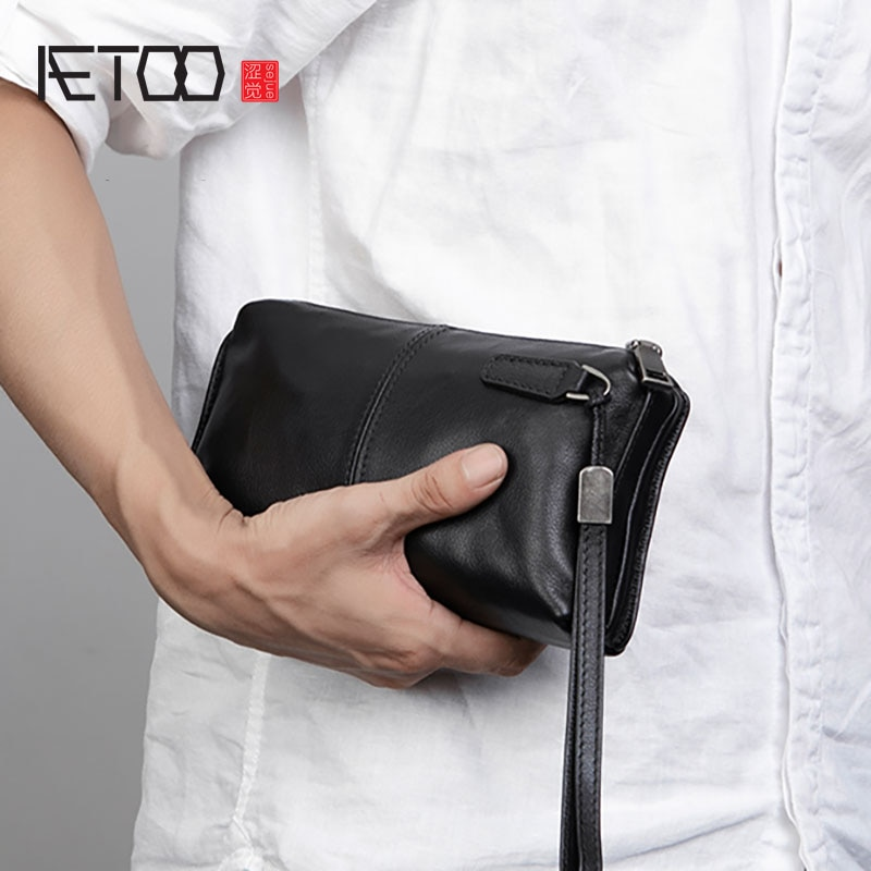 AETOO Men's handbags, men's leather soft leather casual handbags, long zip-up wallets, leather mobil