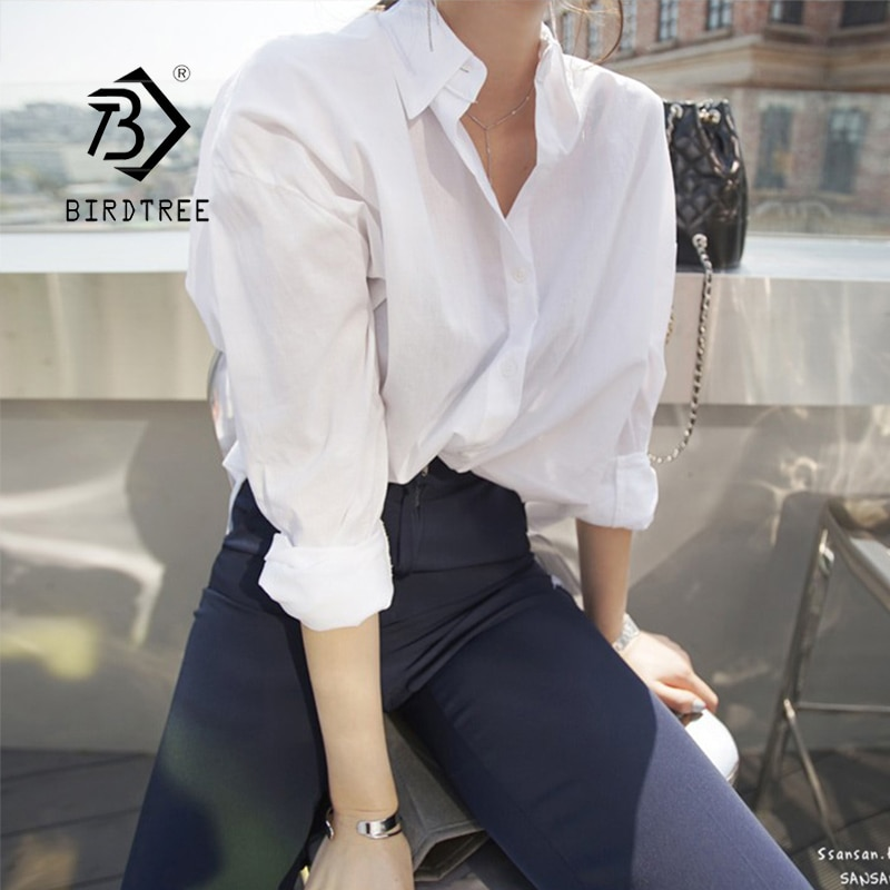 AliExpress - New Arrival Women Solid Turn-down Collar White Shirt Full Sleeve Button Up Chiffon Blouse Korea Style Feminina Blusa T9O904F