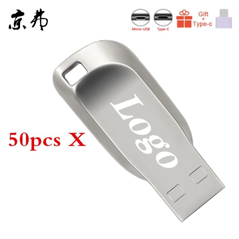 50pcs Usb Flash Drive 32gb Usb Stick 128MB Metal Usb Pen Drive 4GB 8GB 16gb Pendrive 512M Memory Stick Business Free Custom LOGO