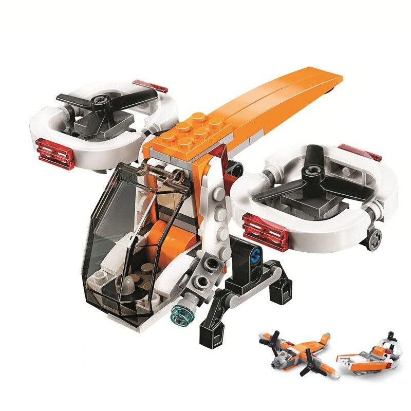 Decool 3 en 1 109 Uds creador de ciudades helicóptero de doble Rotor juguetes de bloques de construcción regalo de construcción para niños Technic 31071