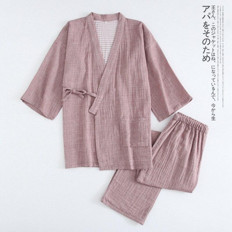 Весна Хлопок мужское кимоно сплошной цвет двойной марли японский домашний костюм Повседневная Пижама с длинным рукавом брюки набор кимоно ...