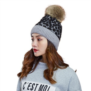 Women winter Knitted Hat Wool Hooded Hat Fashion  Leopard Warm Hat Hat Women Hat Hairball Cap Multicolor fur ball warm hat