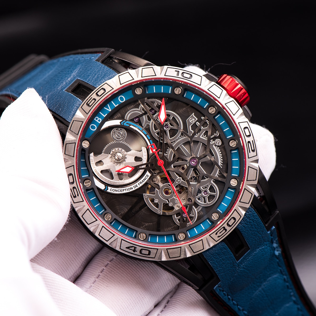 OBLVLO New Designer Sport Watch For Men Blue Skeleton Dial Steel Automatic Self-Wind Watches Rubber
