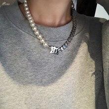 AOMU 2020 personnalité à la mode asymétrique perle clavicule chaîne lettre M court tour de cou en métal chaîne collier pour femmes hommes bijoux