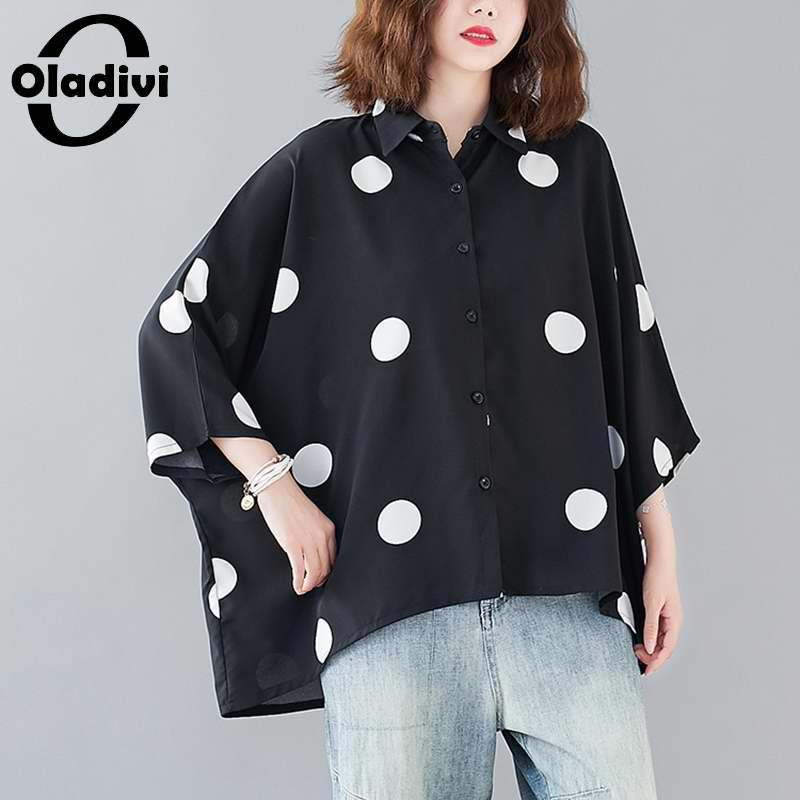 Blusas Oladivi de talla grande a la moda con estampado de puntos Polk para mujer, camisetas holgadas informales de verano para mujer, Blusas, túnicas, Blusa, 8XL, 7XL, 6XL, 5XL