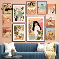 abstract vintage girl print picture fashion boho style girls wall painting one piece canvas art home decor for living room