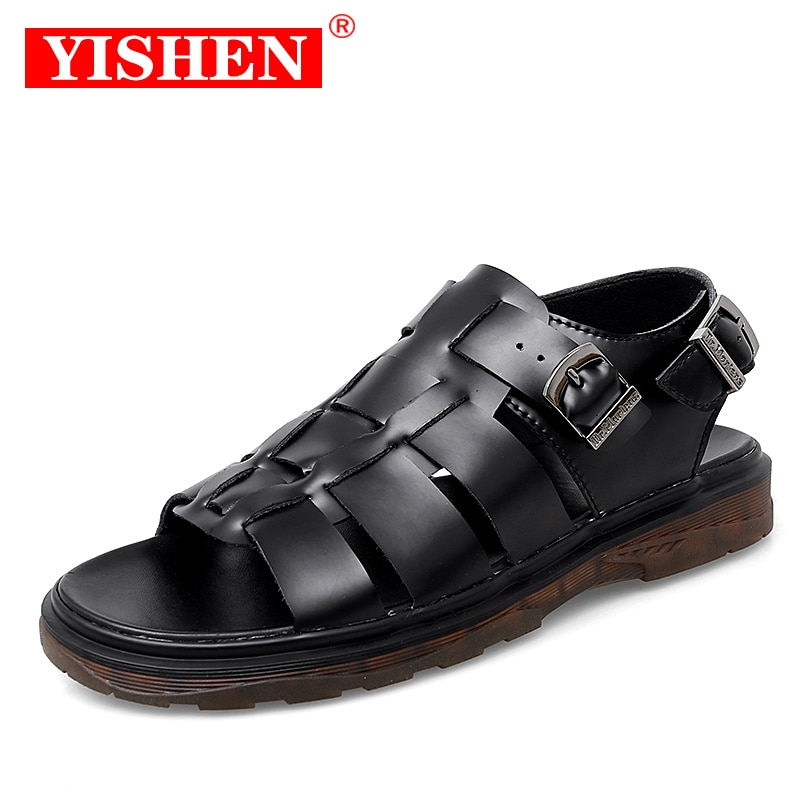 YISHEN Classic Men Shoes Summer Mens Sandals Genuine Leather Breathable Beach Roman Slippers