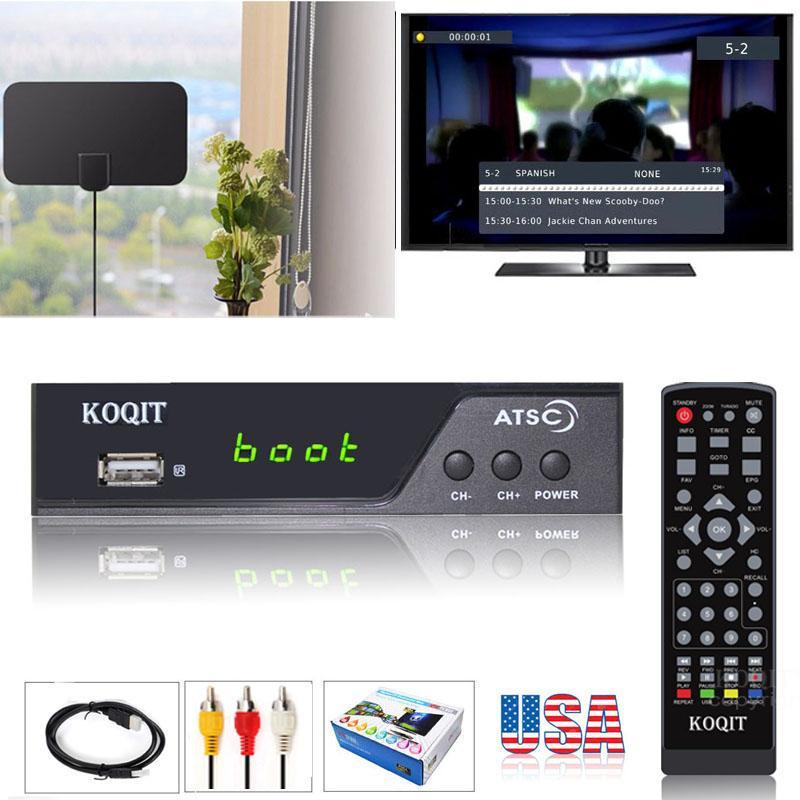 Atsc conversor digital caixa para tv analógica atsc sintonizador com registro e pausa tv ao vivo conjunto caixa superior hd 1080 p usb reprodução de multimídia