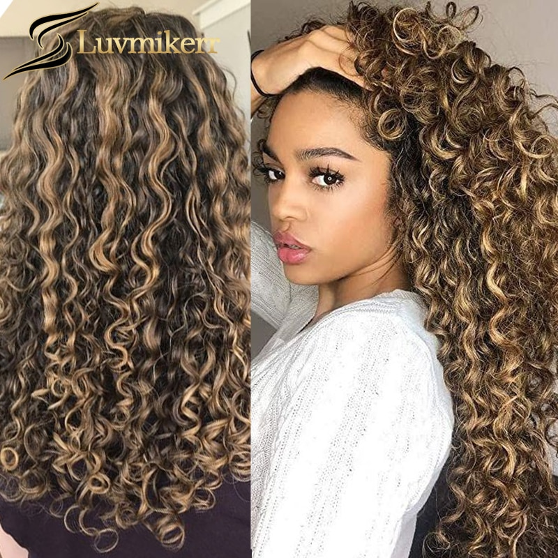 Colored Afro Mongolian Kinky Curly Wig 13x6 Highlighted Hd Transparent Lace Frontal Honey Blonde Hum