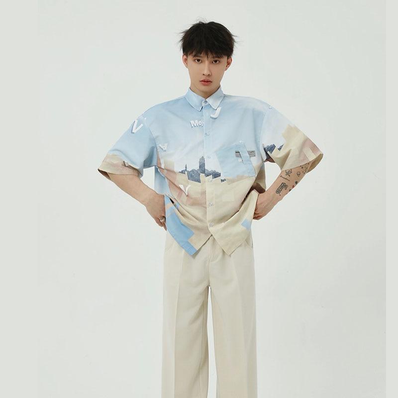 Men Vintage Print Streetwear Hip Hop Loose Casual Short Sleeve Shirts Male Summer Beach Shirt