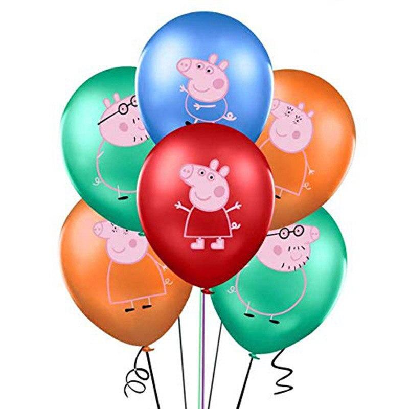 Peppa Pig 12 pièces couleur, 2.8g, ballons pour fête danniversaire George, globos, jouets pour fête prénatale rose bleu, fournitures de fête prénatale