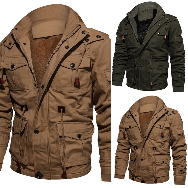 Winter Parkas Mens Casual Thick Warm Bomber Jacket Mens Outwear Fleece Hooded Multi-pocket Tactical Military Jackets Overcoat