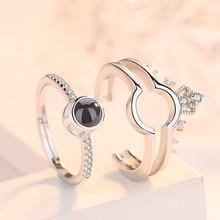 Argent 925 bijoux 100 langues I Love You bague de Projection deux-en-un Couple anneau romantique amour mémoire bijoux de mariage