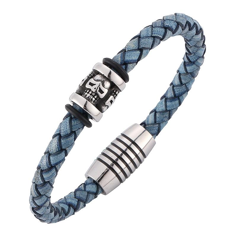 Fashion Men Jewelry Skeleton Skull Bracelet Blue Leather Rope Braided Bracelet Men Magnetic Clasps Male Wrist Band C0198