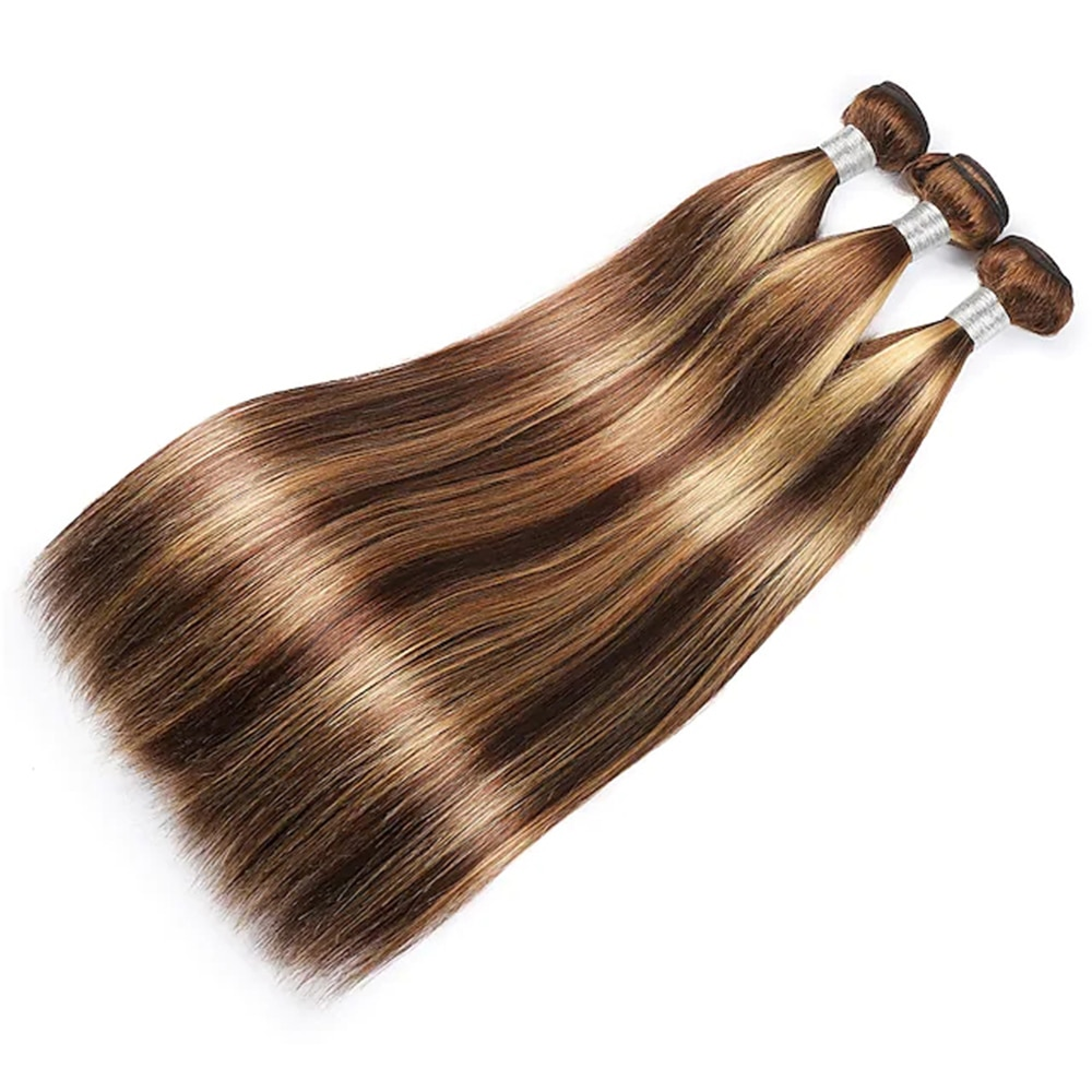 Medium Brown / Strawberry Blonde 3 Bundles Hair Weaves Brazilian Hair Straight Human Hair Extensions Remy Human Hair Bundle Hair