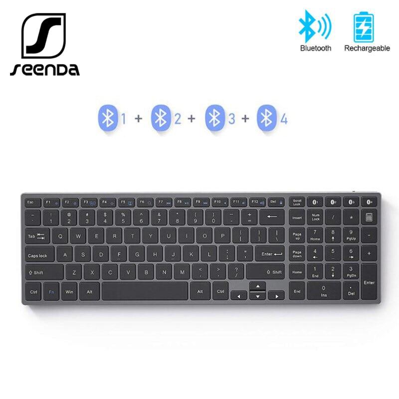SeenDa-لوحة مفاتيح معدنية قابلة لإعادة الشحن لأجهزة iPad والكمبيوتر اللوحي والكمبيوتر المحمول ، متوافقة مع Windows IOS ، AZERT ، فرنسي/روسي