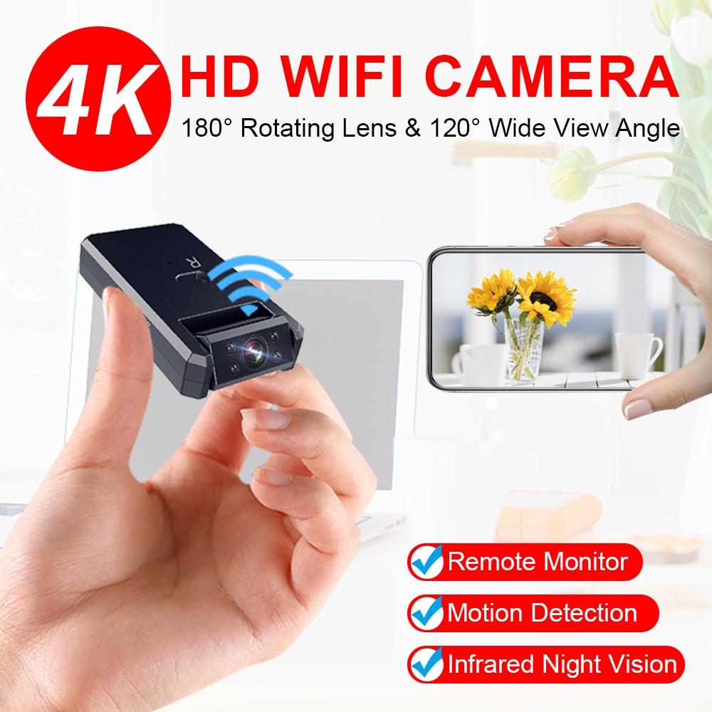 كاميرا صغيرة من JOZUZE تعمل بالواي فاي بدقة 4K كاميرا فيديو ذكية لاسلكية نقطة اتصال IP رؤية ليلية عالية الدقة كاميرا صغيرة للكشف عن الحركة