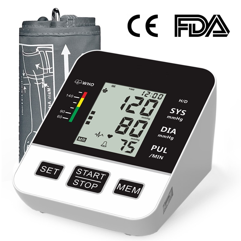 Home Blood Pressure Monitor Automatic Digital LCD Large Cuff Upper Arm Blood Pressure Monitors Medical BP Heart Rate Pulse Meter