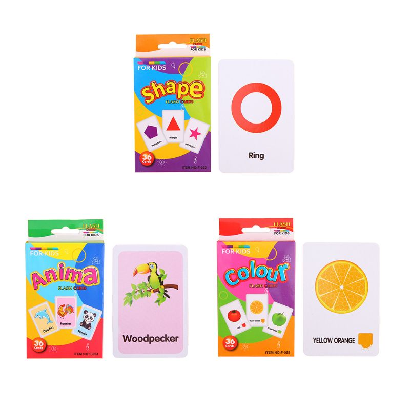 36pcs Children Recognition Shape Animal Color Teaching Card Early Education Learning Toy Gifts