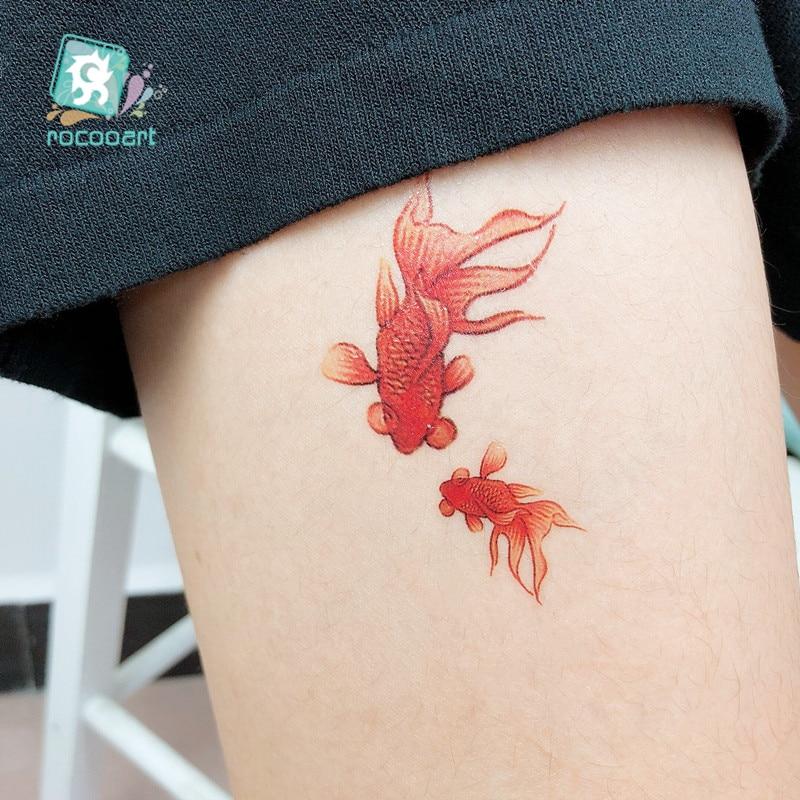 Rocooart RC-69 Colored 3D Red Fish New Fashion Waterproof Temporary Tattoo Sticker Tatoo Women and Kid Flash Fake Tattoo